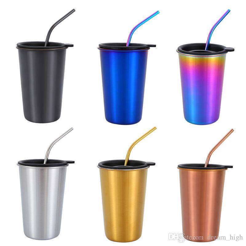 500 ml 304 tasse de café en acier inoxydable Set métal paille commutateur couvercle couvercle gobelet réutilisable camping en plein air tasse de voyage boire jus de thé tasses de bière