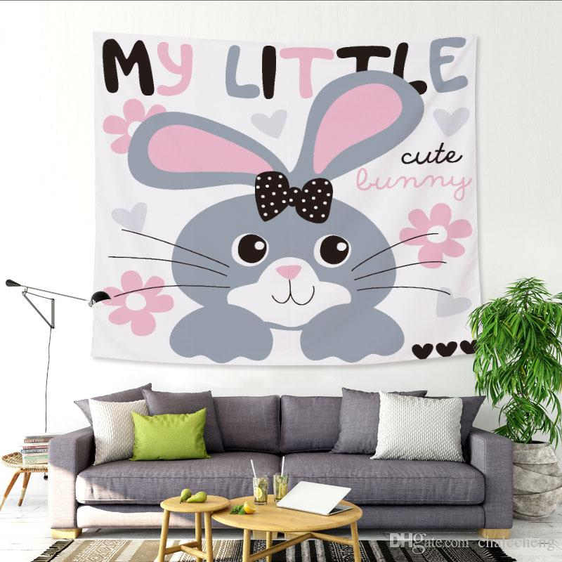 200X150cm Animal Cartoon Rabbit Pattern Tapestry Hanging Wall Carpet Customizable Children Bedroom Home Decor Curtain Beach Towel