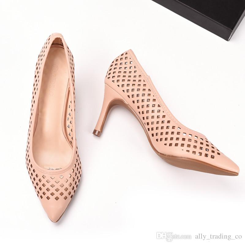 2018 nouvelles chaussures en cuir véritable femme pompes sexy talons hauts orteils découpés femmes robe de soirée chaussures pompes taille 39