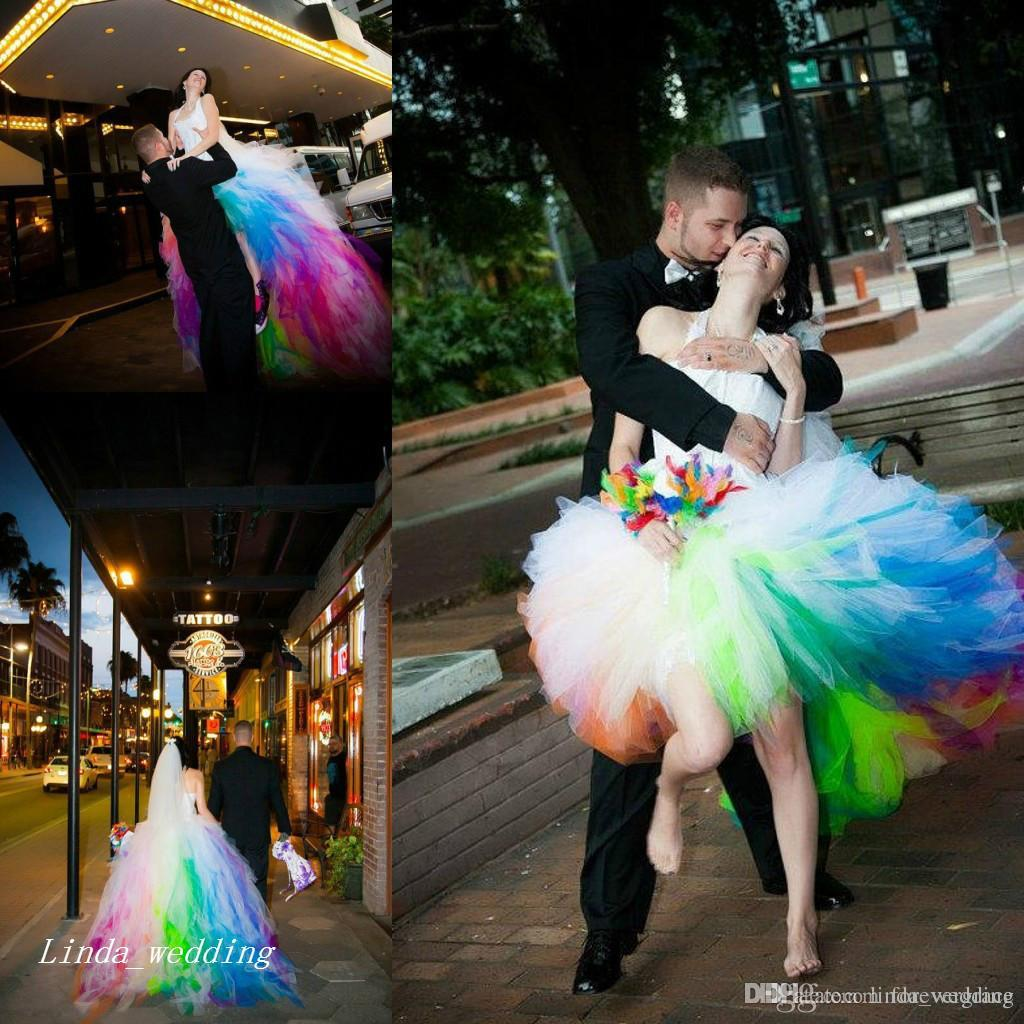 New Arrival Colored Rainbow Wedding Dresses Romantic Puffy Ball Gown Halter Tulle Long Dream Princess Bridal Party Gowns