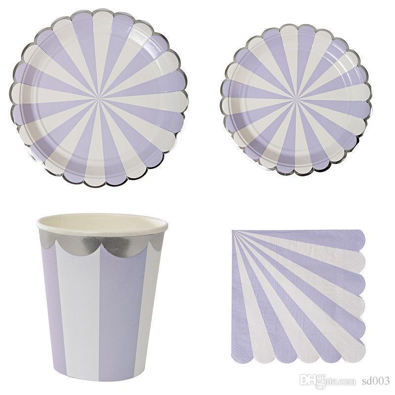 Мода одноразовая посуда Набор нашивки золотой фольги бумажные тарелки Чашки Tissue Салфетки Посуда Kit С Днем Рождения Декор для вечеринок 26 5yz Zz