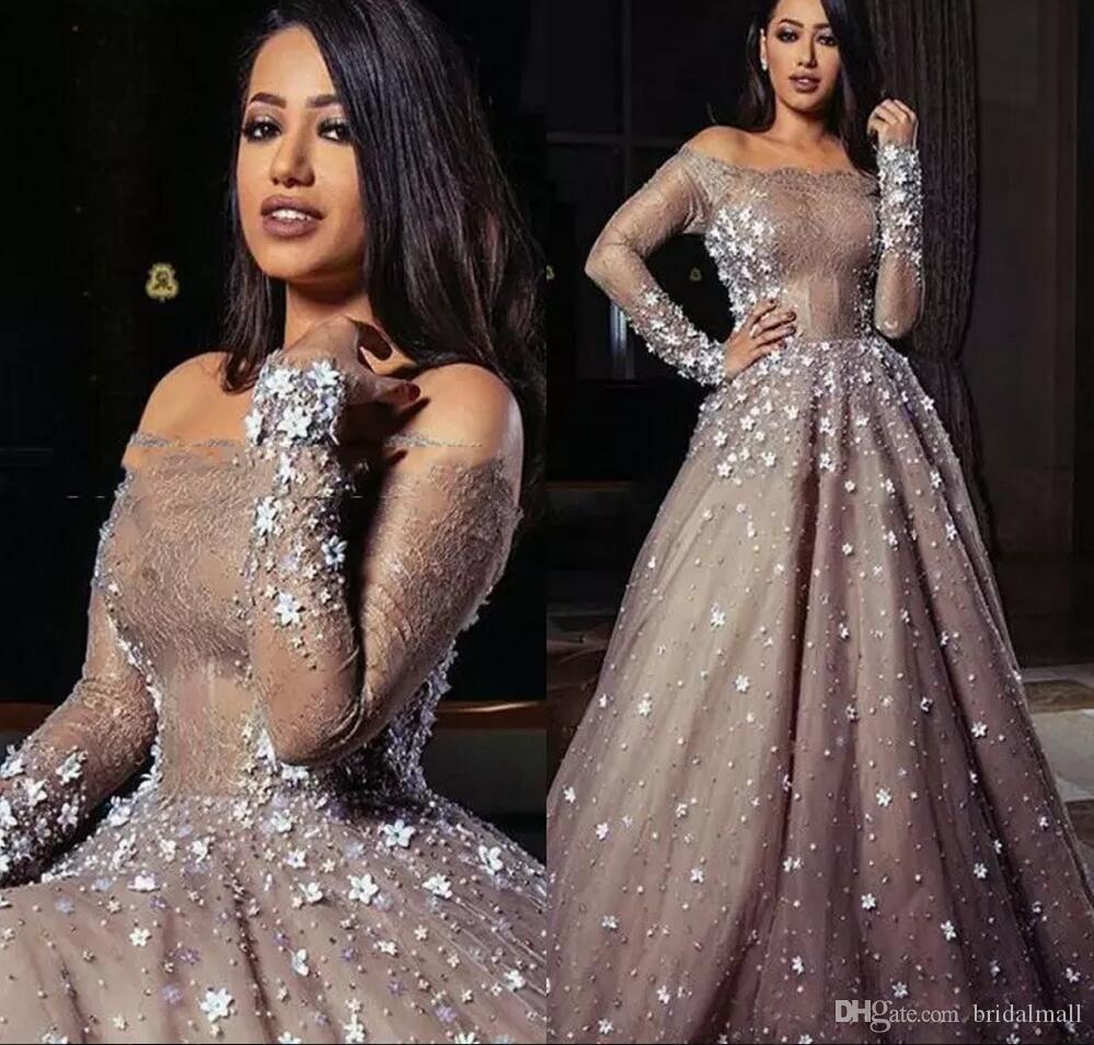 사우디 아랍어 크리스탈 아플리케 롱 슬리브닝 드레스 2019Off-숄더 드레스 섹시한 비즈 꽃 레이스를 공식적인 지퍼 파티 드레스