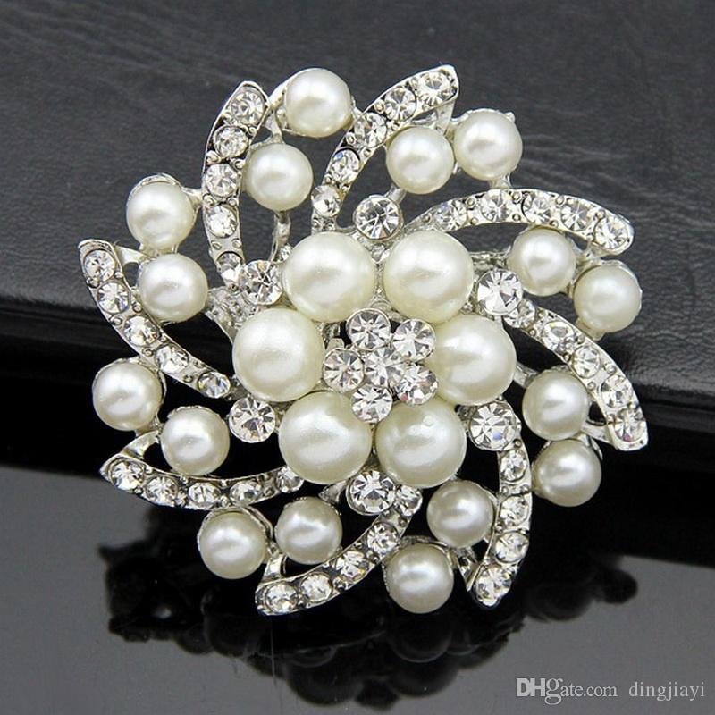 Kadınlar için moda rhinestone İmitasyon İnci broş gelin düğün aksesuarları takı alfileres de boda casamento