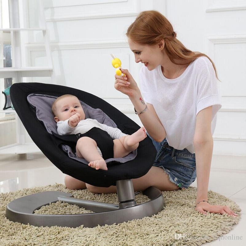 Groovy Baby Rocking Chair With Stable Aluminum Alloy Base Baby Swing Cradle Automatic Swing Bouncer For Newborns Vintage Wood Rocking Chair Wooden Kids Machost Co Dining Chair Design Ideas Machostcouk