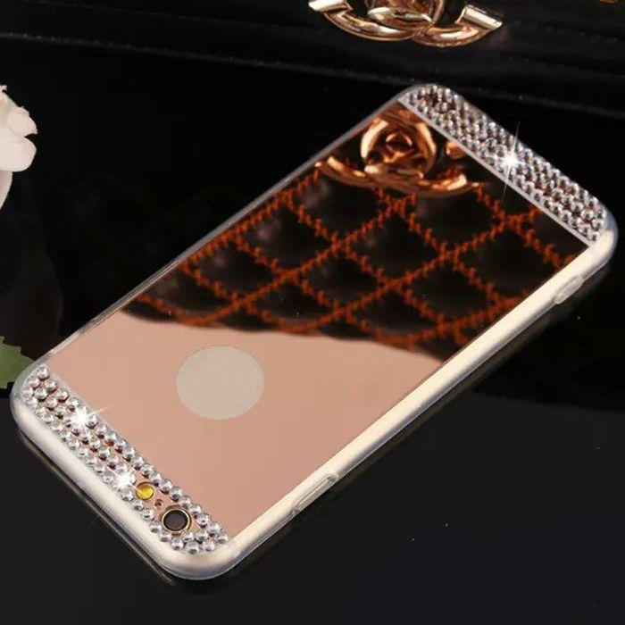 Bling brilhando diamante strass galvanoplastia espelho tpu soft case capa para iphone xs max xr x 8 7 6 plus samsung galaxy note 9 s9 s8 a8