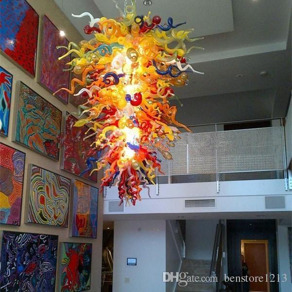 Lampe couleur vif lustres italiennes contemporain main soufflé à la main LED lustre lumineux suspendu lampes suspendues suspendues