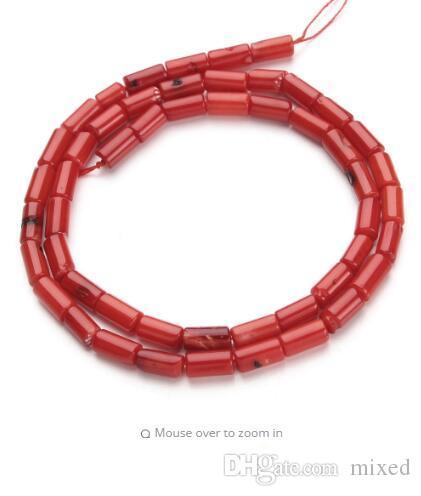 1Strand / серия 4x8mm красный Природные Column Коралловые свободные шарики для Diy ожерелье браслет ювелирных материалов для изготовления F2791