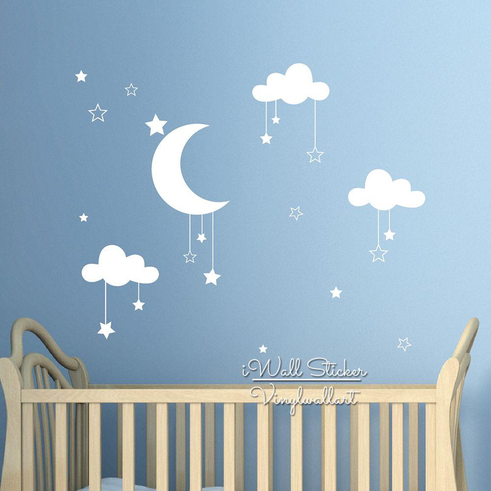 Acheter Bébé Pépinière Nuages Étoiles Autocollant Mural Lune Nuages Sticker  Enfants Chambre Décor Facile Mur Art Enfants Chambre Haute Qualité Cut ...