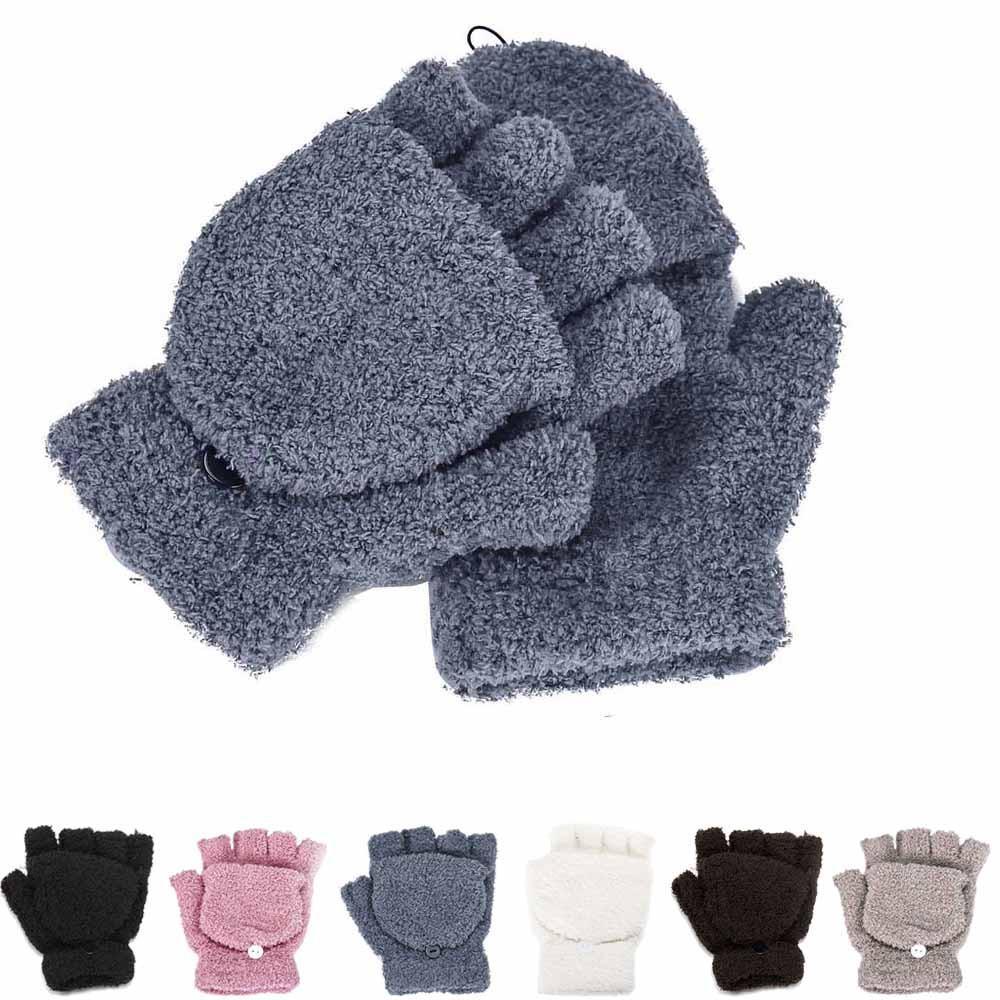 Fashion Winter Girls Women Ladies Hand Wrist Warmer Winter Solid Ladies Fingerless Gloves Mitten Y18102210