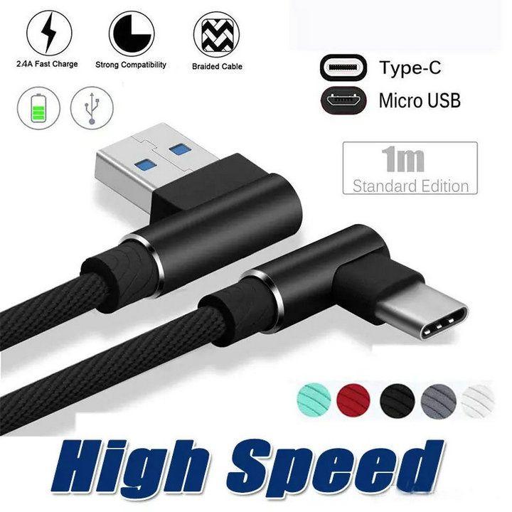 90 درجة مايكرو كابل USB 1M 2M 3M 2A شاحن سريع الحبال مضفر نوع ج خط البيانات لسامسونج S10 S9 S8 ملاحظة 8 الهواتف الذكية الروبوت الهواتف