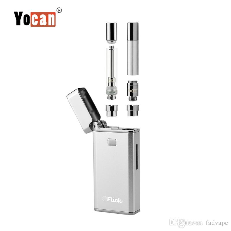 Yocan Flick box mod 2-in-1 smoking device for oil and quartz coil concentrate atomizer with 650mah micro usb port battery starter kit