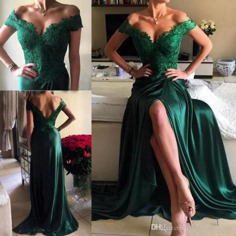 New Sexy Prom Dresses Off Shoulder Cap Sleeves Hunter Green Lace Appliques Side Split Open Back Formal Party Dress Evening Gowns