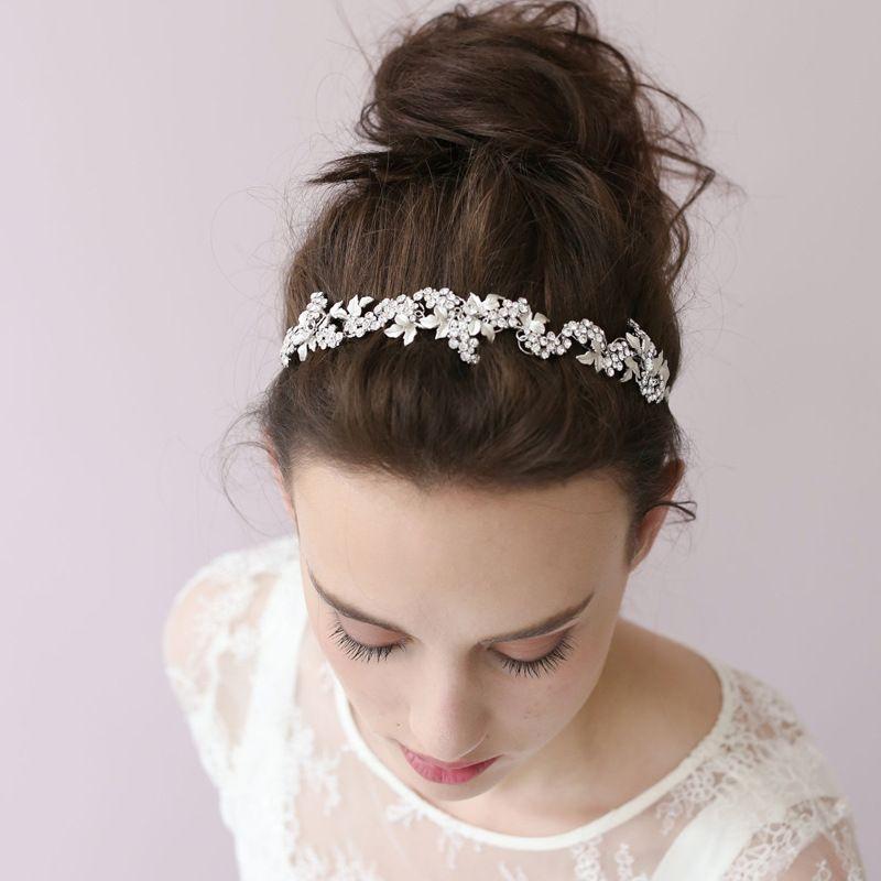 Мода белый лист горный хрусталь цветочные Люкс Корона волос лозы ручной проводной свадебные тиара оголовье женщины аксессуары для волос ювелирные изделия