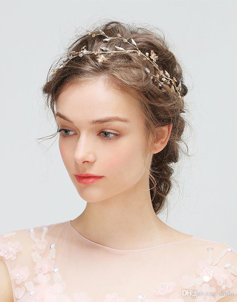 Wedding Hair Band Headband Headdress Gold Bridal Headband Pure Handmade Party Wedding Hair Accessories Pearl Crystal Bridal Headpiece