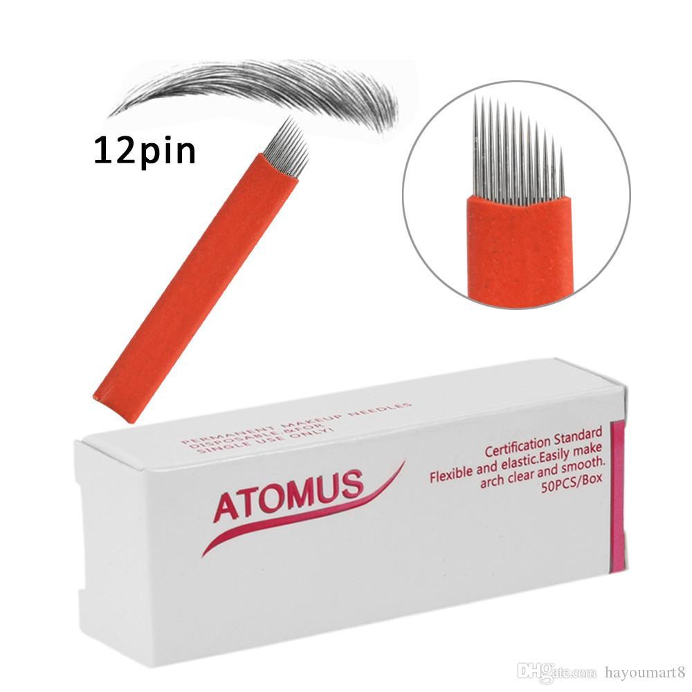 50 pcs Microblading Simple Arc 12pin Aiguilles Agulhas Tebori Tatouage Sourcils Maquillage Permanent Aiguilles Lame Agulha Maquiagem Rouge