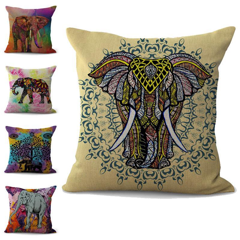 Colorful Elephant Pillow Case Cushion cover linen cotton Throw Square Pillowcase Cover Decor Drop Ship 300743