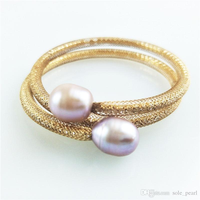Tipo aperto bracciale 2018 nuove semplici perle d'acqua dolce naturali 12-16mm oro argento placcato filato netto con strass Bracciali all'ingrosso