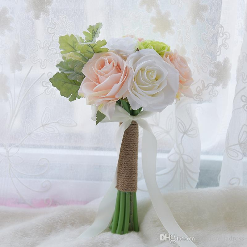 Artificial Vintage Wedding Bouquets For Bride Silk Hand Holding Flowers Handmade Wedding Bridal Bouquet Accessories White Rose CPA1565