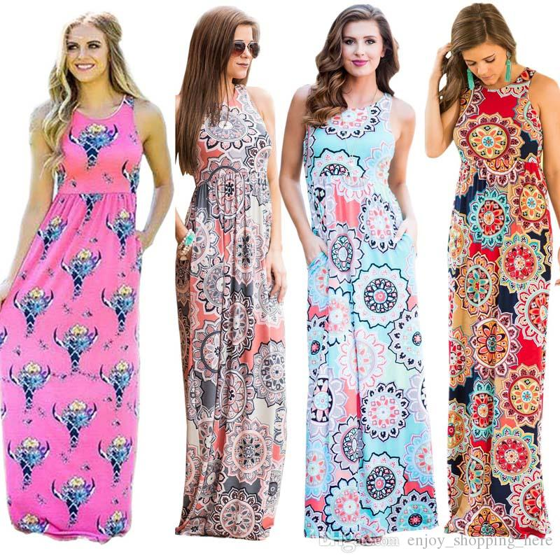 Women Plus Size Maxi Dresses Clothes Summer Dress Big Wave Long Casual  Floral Element Steetwear Pullover Pocket High Quality Ladies Dress Women  Floral ...