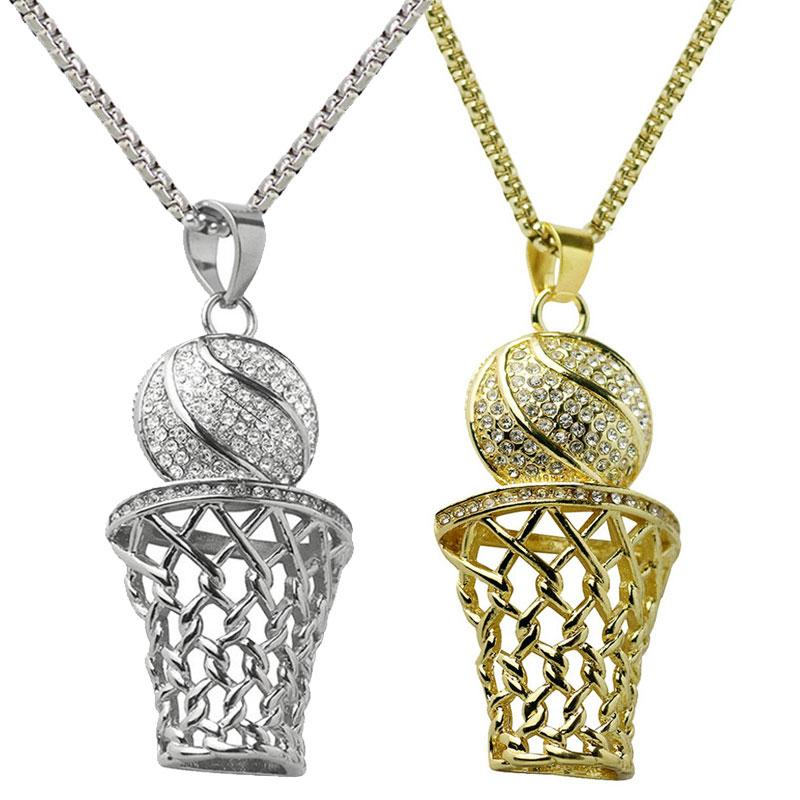 2018 Iced Out Basketball Pendant Necklaces Gold Color Stainless Steel Chain Necklace Mini Basketball Rim Pendant Necklace