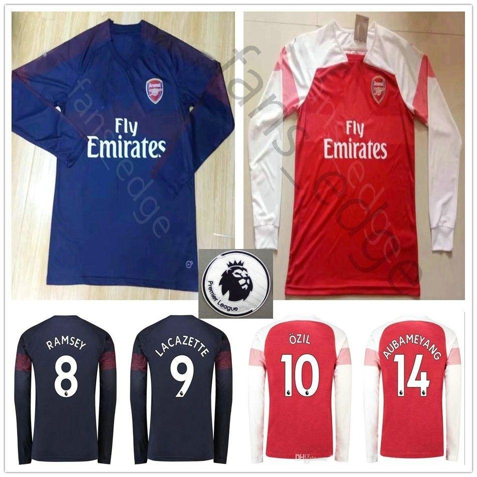 quality design 6d9d2 305ae 2018 2018 2019 Arsenal Long Sleeve Soccer Jersey 10 OZIL AUBAMEYANG  LACAZETTE GIROUD XHAKA TORREIRA Custom Home Away 18 19 Football Shirt From  ...
