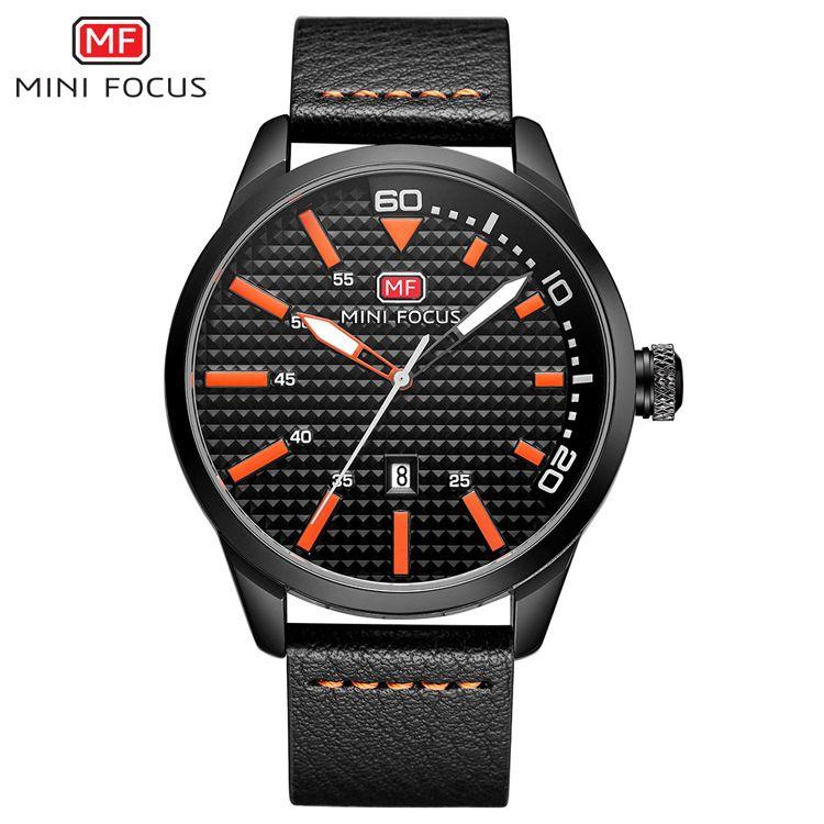 Reloj de cuarzo analógico para hombre de marca MINIFOCUS Relojes deportivos con correa de cuero resistente al agua Fecha automática Relojes de pulsera masculinos de lujo MF0021G