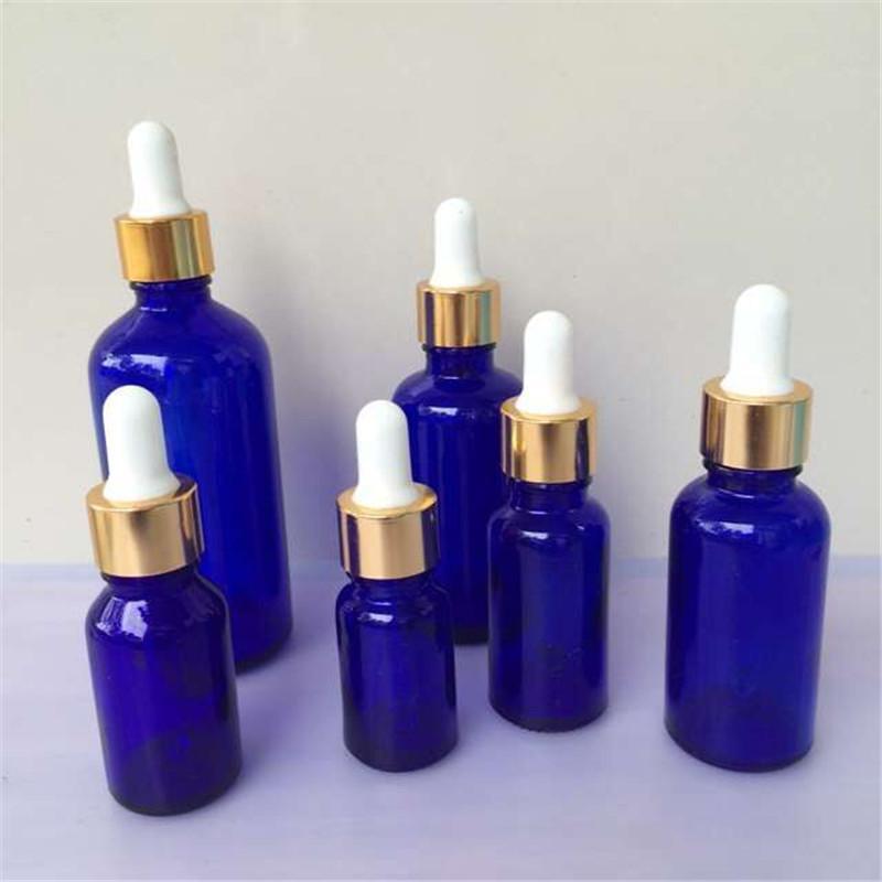 Wholesale Bottles 10ml 15ml 20ml 30ml 50ml 100ml Glass Dropper Bottles with Pipette Empty Blue Esssentail Oil Bottles Liquid Jars
