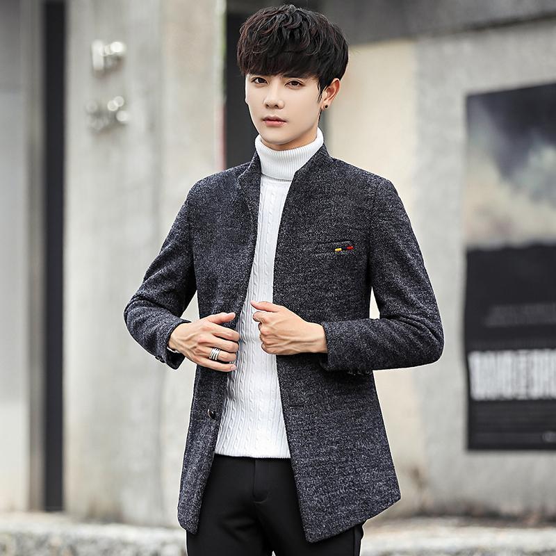 Großhandel 2018 Neue Wollmischung Wintermantel Männer Kurze Männer Jacken Koreanische Mann Jacke Einreiher Schlanke Herren Mantel 4 Farbe 5xl Von