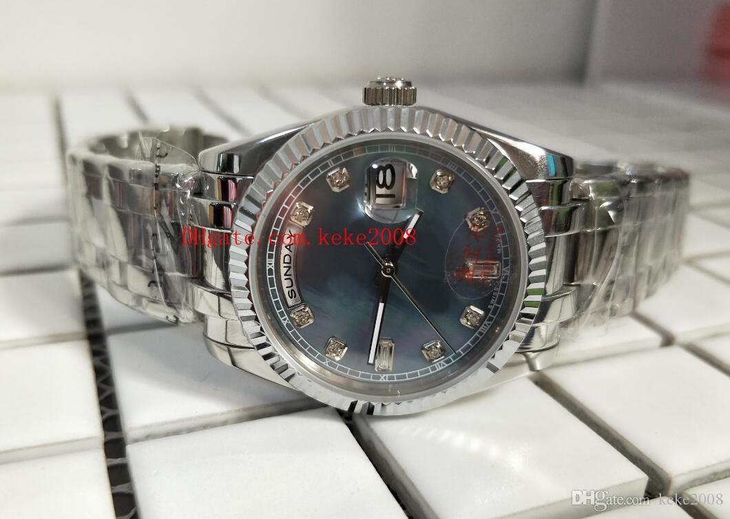 Luxus Hochpräsident Diamant 36mm Tag 2813 118206 Mechanische Mutter der Uhr Platinum Mens Quality Datum Bewegungsuhr Perlen Uhren FGTUG