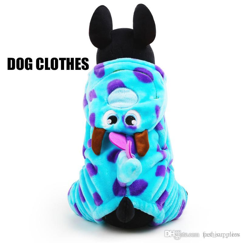 Fleece Pet Cat Dog Clothes In Cold Winter Visual Blue Dragon Dogs Coats Dog Parkas For Yorkshire dog outfits XXS-L Hoodies