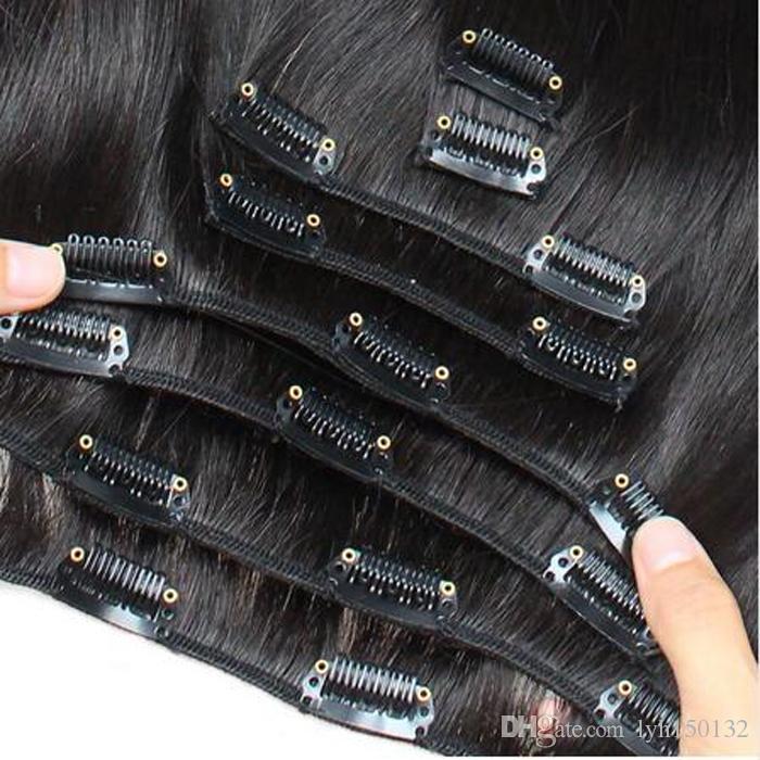 Grampo de cabelo peruano de Remy no grampo grosso virgem natural das extensões 7PCS do cabelo humano na extensão do cabelo