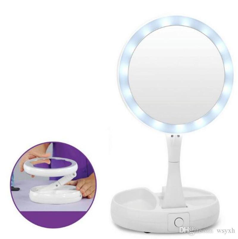 2018 My Fold Away Make-Up LED-Spiegel 360-Grad-Drehung Touchscreen Make-Up Cosmetic Folding Portable Compact Mirror