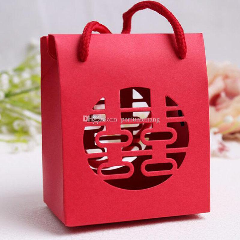 Китайский традиционный красный двойной счастье свадебный подарок бумажный мешок с ручкой пакет коробка конфет Бесплатная доставка QW7358