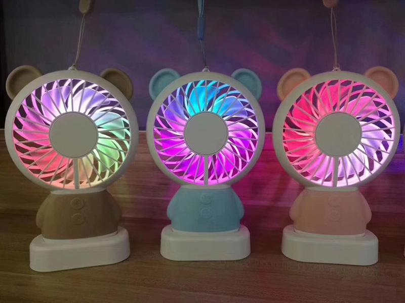 USB Portable Rechargeable Fan Handy Colorful Light Changing Cooler Fan PC Gadgets For Computer Laptop