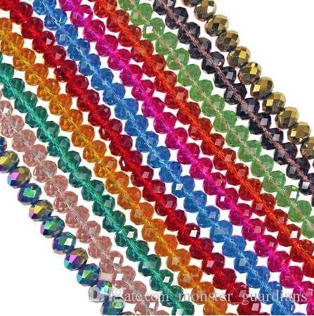 70pcs 8mm # 5040 perline di vetro sfaccettato perline trasparenti rondelle perline artigianali per gioielli fai da te fare u colore rosa