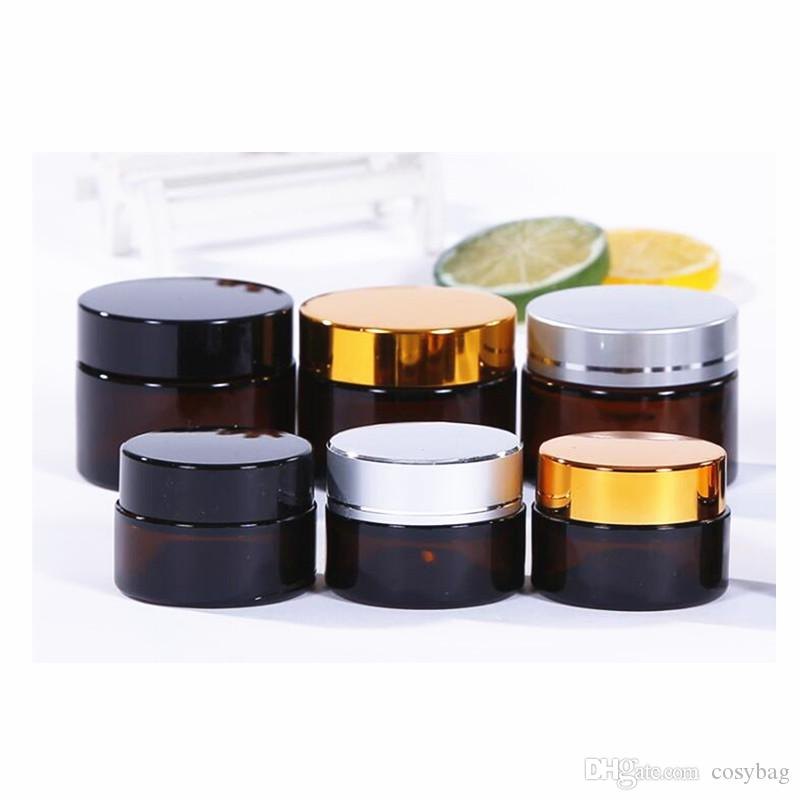 10/20/30/50ml Glass Jar Cosmetic Sample Empty Container Sample Pot Amber Glass Cream Jar 0238