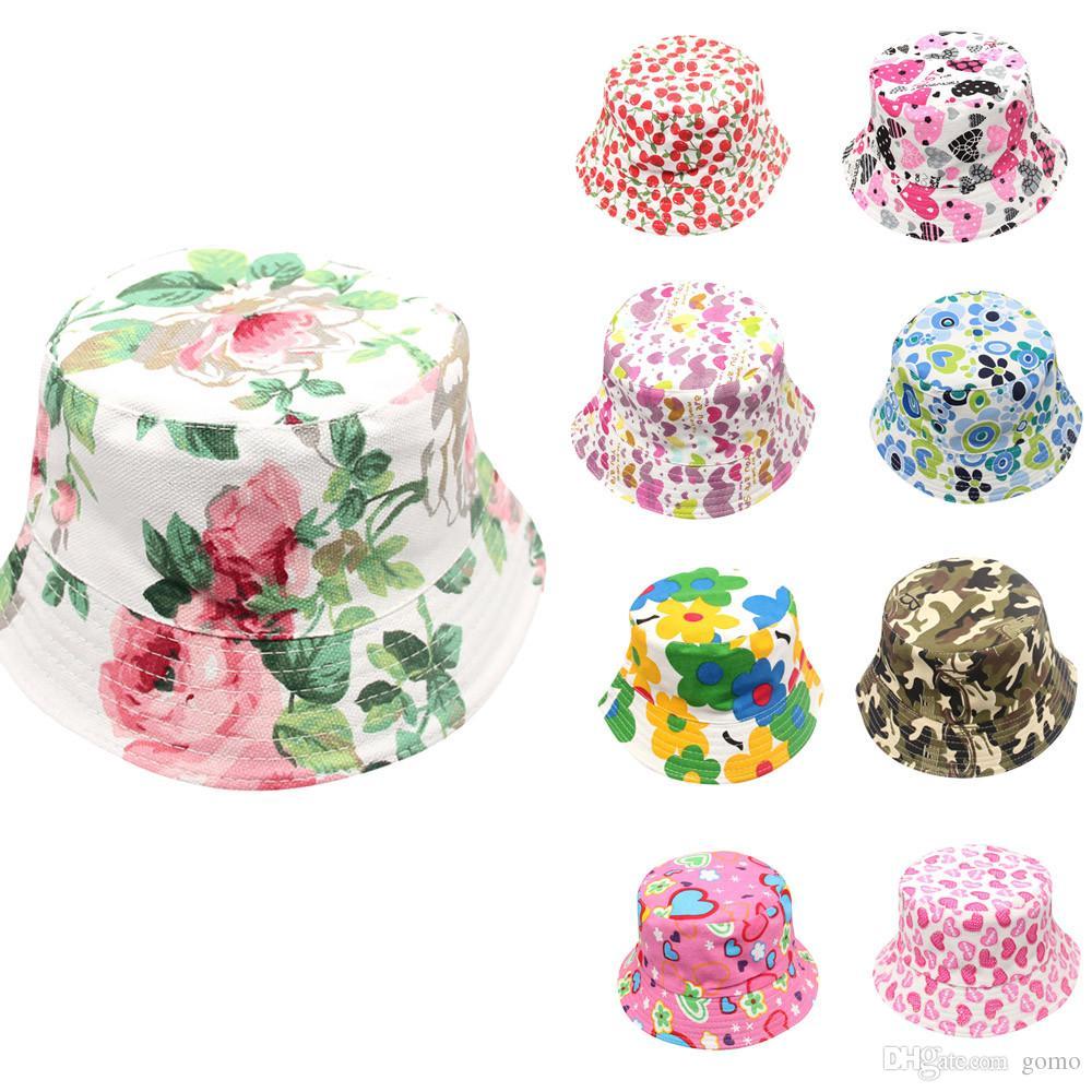 MUQGEW Criança Bebê Crianças Meninos Meninas Padrão Floral Balde Chapéus Cap Sol Capacete acessórios de Verão