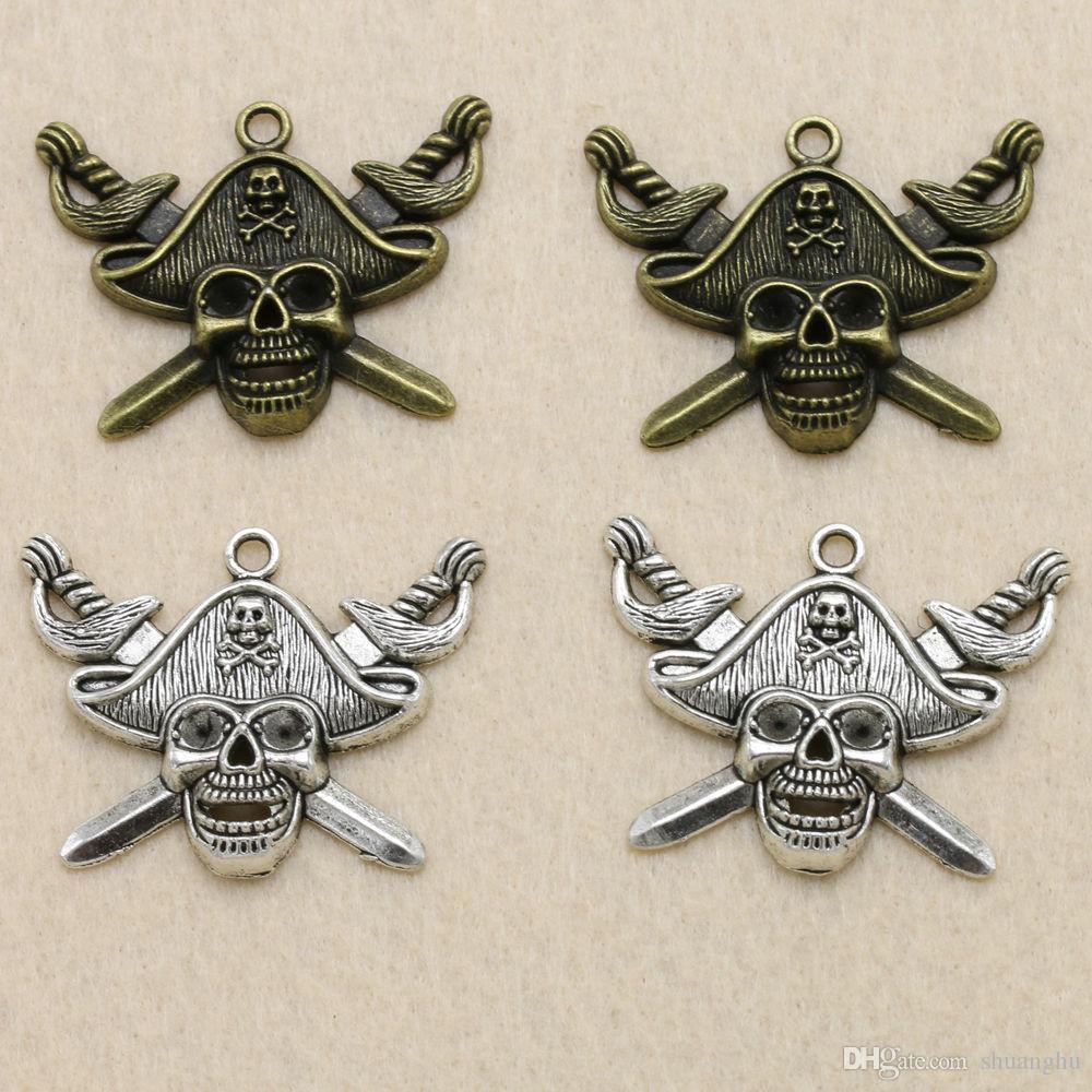 vente en gros 100 pcs / lot bijoux tibétain argent pirate capitaine alliage charmes pendentif 43 * 33mm