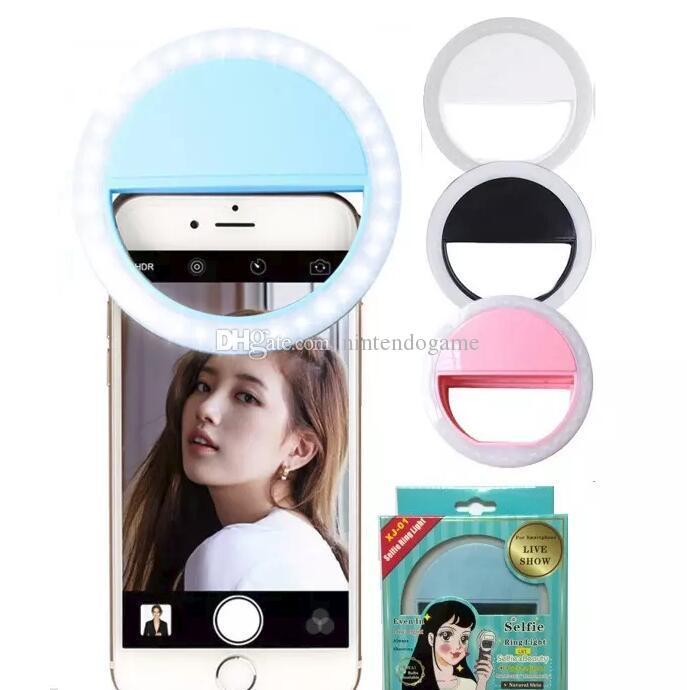 In Stock Battery Style 8cm*3cm LED Selfie Ring Light Flash Spotlight Circle Round Photo Camera Fill Light Lamp For all smartphone XJ01