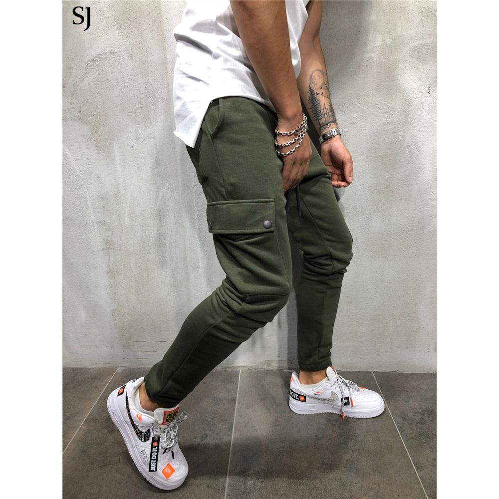 Marca los hombres pantalones de algodón Multi bolsillo Harem Pantalones Joggers 2018 Pantalones masculinos para hombre Joggers pantalón sólidos de gran tamaño M-3XL