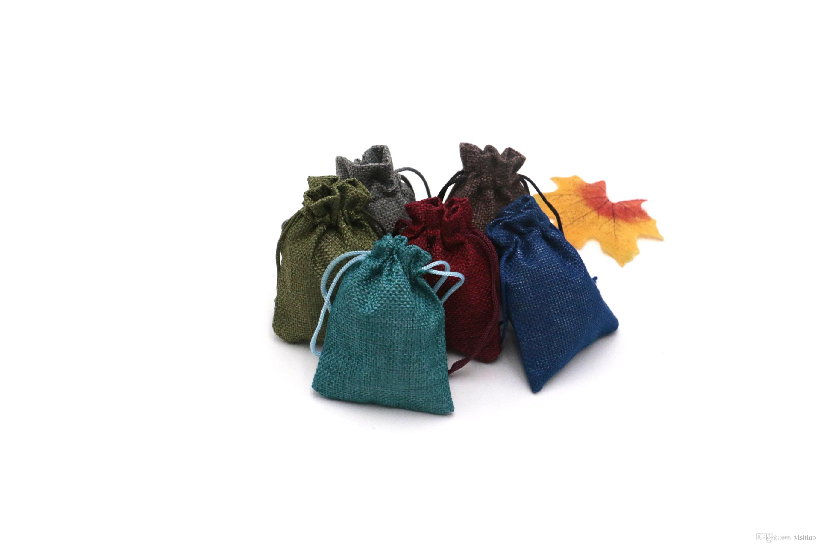 100Pcs/lot Mini Burlap Sacks Wedding Party Jewelry Accessory Packing Pouch Jute Hemp Drawable Small Gift Packaging Bag