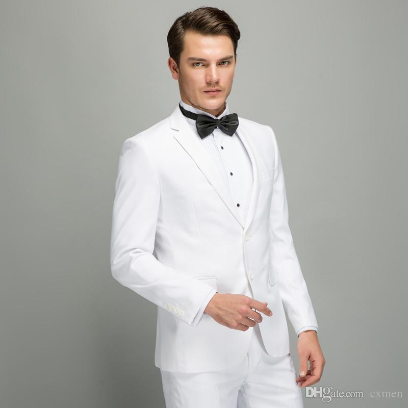 Custom Slim Fit White Men Wedding Suit 2018 Groom Tuxedos Handsome Man Blazer for Groomsmen Best Men 2 Pieces Jacket+Pants