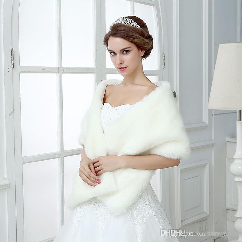 Fildişi Kış Düğün Gelin Faux Kürk Sararlar Sıcak Şallar Giyim Kadın Ceketler Balo Akşam Parti için Yüksek Kalite Faux Kürk Düğün Sarar