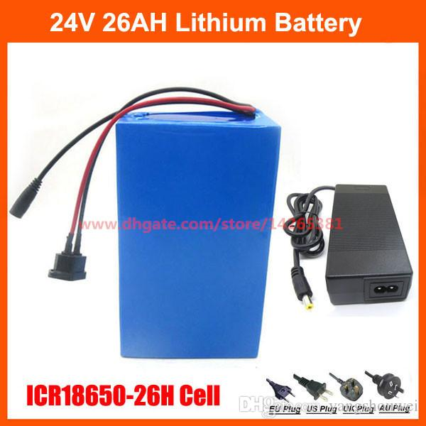 24 V 500 W pil 24 V 26AH elektrikli bisiklet Lityum iyon ebike pil kullanımı ICR18650-26H 2600 mah hücre ile PVC kılıf 30A BMS 29.4 V 3A şarj