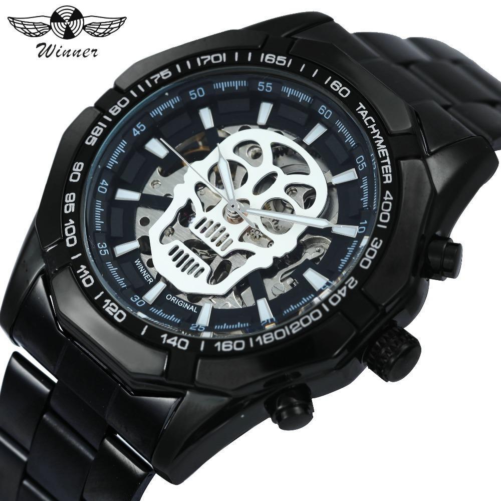우승자 Steampunk 두개골 자동 기계식 시계 남자 스테인레스 스틸 스트랩 해골 다이얼 패션 멋진 디자인 손목 시계 Y1892111