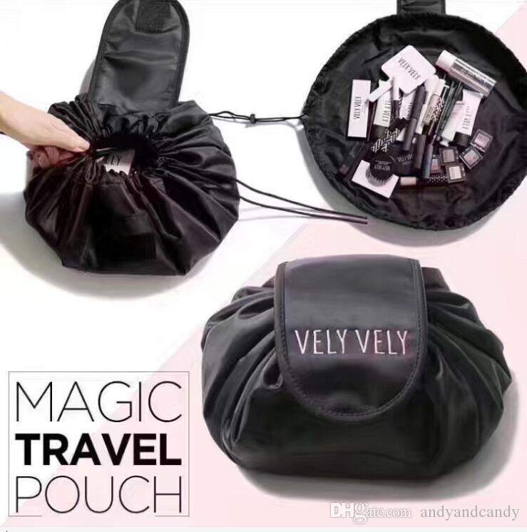 Vely كسول حقيبة ماكياج الرباط حقيبة تخزين السفر التجميل المنظم الحقيبة أسلوب بسيط شعار مخصص