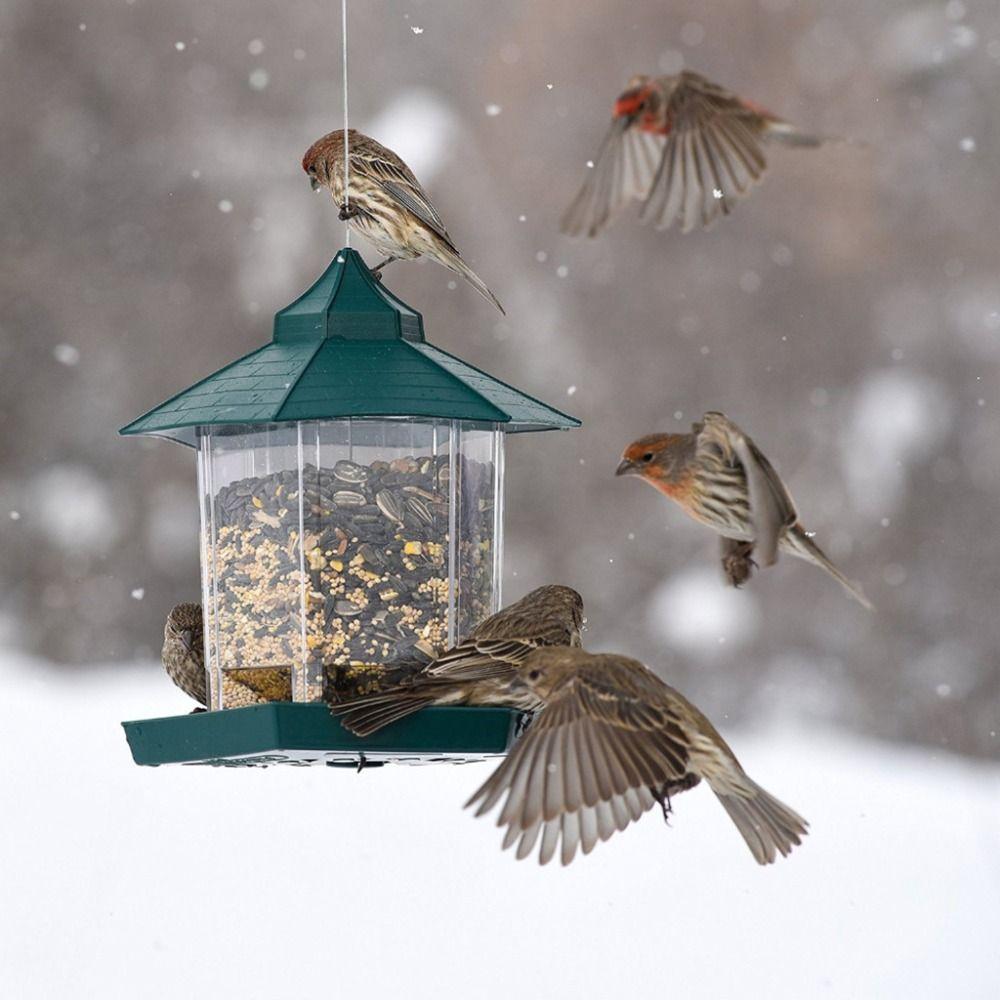 Plastic New European Style Wild Bird Feeder Outdoor Bird Feeders Food Container Hanging Gazebo Bird Feeder Perfect For Garden Decoration