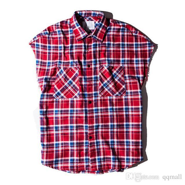 Men's Jackets Plaid Shirts Men Sleeveless 2018spring Streetwear Side Zipper Flennel Hip Hop Shirts Casual Shirts for Men Clothes