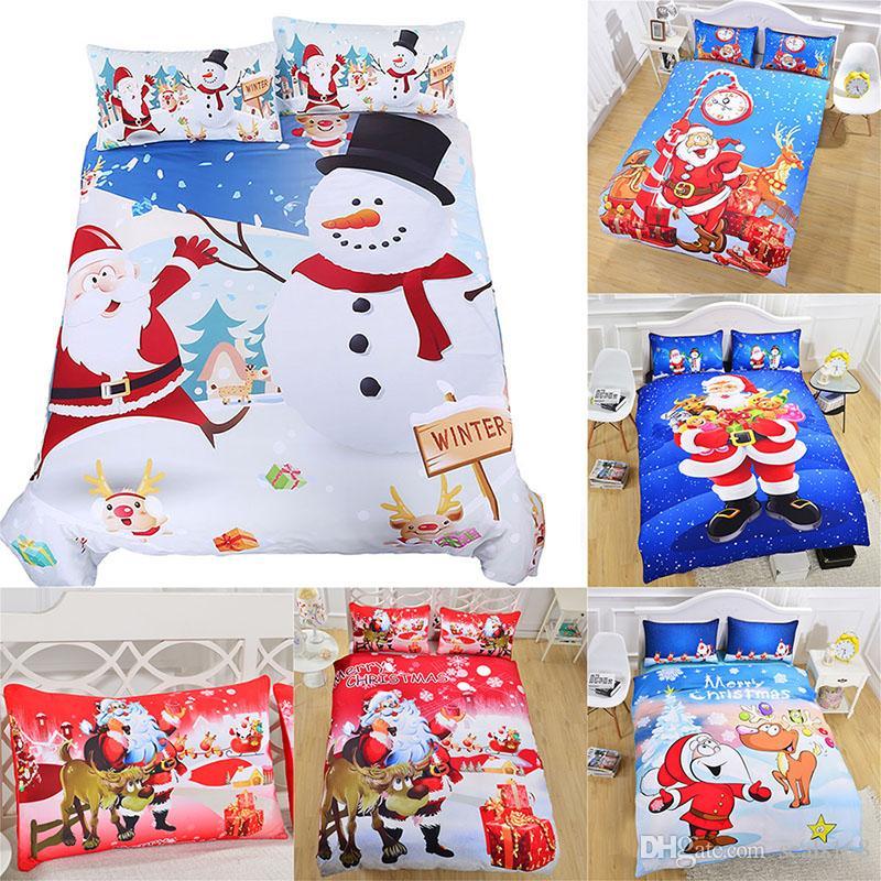 3D Christmas Bedding Sets 3pcs/set Duvet Cover Pillowcases Santa Claus Snowman Christmas Decoration Xmas Gift HH7-1789