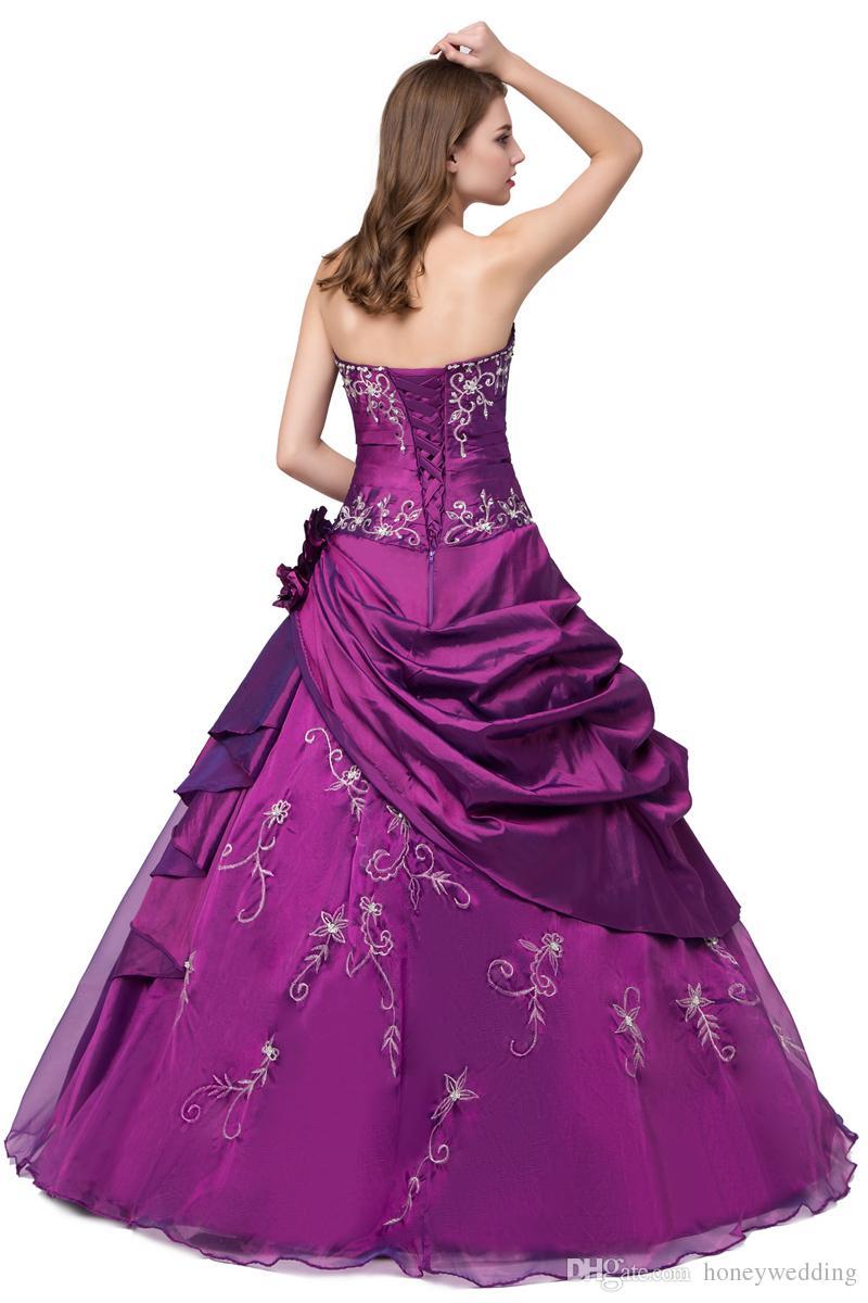 Compre Vestido De Bola Púrpura Vestidos De Quinceañera Con Bordado ...